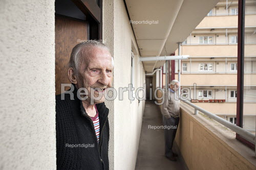 George Phillips (94) has lived in his flat on the Regents Park Estate in West Euston since it was built in 1955, his near neighbour, Stan Passmore (87) since 1961. Their block, Eskdale, will be demolished when work begins on the HS2 high-speed rail line to Birmingham in 2016. - Philip Wolmuth - 2013-04-19