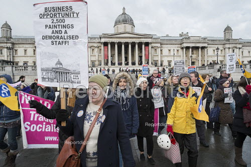 National Gallery staff at a march and rally in Trafalgar Square, London, during a five-day strike by PCS members following a decision to privatise their jobs. - Philip Wolmuth - 2015-02-05