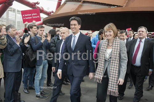 Ed Miliband MP. Harriet Harman MP, Ed Balls MP. Labour Party general election campaign launch, Stratford, London. - Philip Wolmuth - 2015-03-27