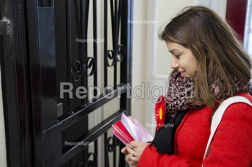 General election 2015: Tulip Siddiq, Labour candidate for Hampstead & Kilburn, the second most marginal seat in the UK, canvassing voters in a social housing block in Swiss Cottage, London. - Philip Wolmuth - 2015-03-28