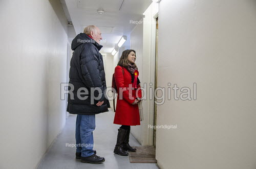 General election 2015: Neil Kinnock and Tulip Siddiq, Labour candidate for Hampstead & Kilburn, the second most marginal seat in the UK, canvassing voters in a social housing block in Swiss Cottage, London. - Philip Wolmuth - 2015-03-28