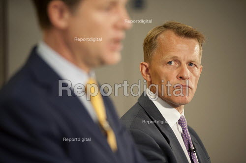 Nick Clegg and David Laws. Liberal Democrat pre-election press conference, Westminster, London. - Philip Wolmuth - 2015-04-12