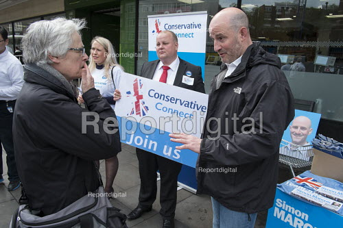 Conservative candidate Simon Marcus canvassing in Hampstead and Kilburn, the second most marginal constituency in the UK, held by Labour with a majority of 42 at the 2010 general election. - Philip Wolmuth - 2015-04-25