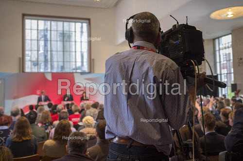 BBC camera operator. Ed Miliband, Ed Balls, Rachel Reeves. Labour Party election press conference, RIBA, London. - Philip Wolmuth - 2015-04-29