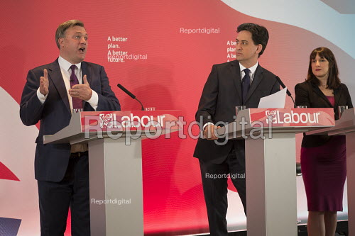 Ed Miliband, Ed Balls, Rachel Reeves. Labour Party election press conference, RIBA, London. - Philip Wolmuth - 2015-04-29