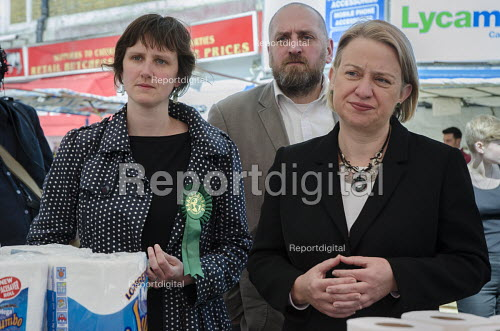 Charlotte George, Green Party parliamentary candidate for Hackney South and Shoreditch, Darren Johnson, Natalie Bennett, Ridley Road market, Dalston, London. - Philip Wolmuth - 2015-04-30