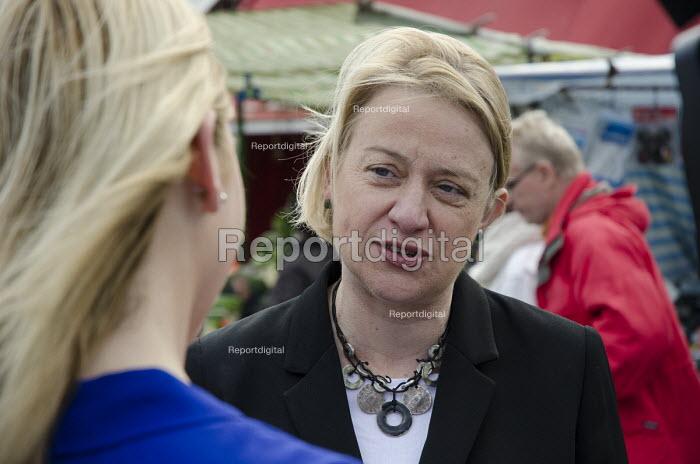 Green Party leader Natalie Bennett, Ridley Road market, Dalston, London. - Philip Wolmuth - 2015-04-30