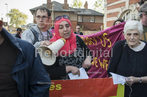 Esmaa Guernaoui, whose family were former residents of Sweets Way estate in Whetstone, is now living in emergency accommodation outside the borough. Tenants, evicted tenants and housing campaigners in Barnet, north London, protest outside Hendon Town Hall over the sale of West Hendon estate and the demolition of Sweets Way estate. - Philip Wolmuth - 2015-05-13