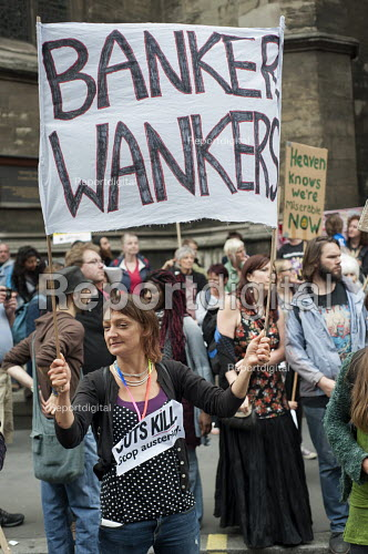 Banker Wankers. End Austerity Now, national demonstration organised by the Peoples Assembly, London. - Philip Wolmuth - 2015-06-20