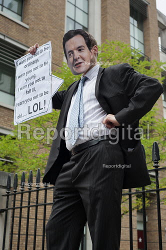Man wearing a George Osborne mask. End Austerity Now, national demonstration organised by the Peoples Assembly, London. - Philip Wolmuth - 2015-06-20