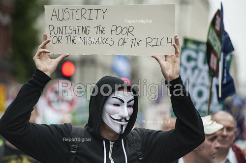 Austerity punishingthe poor for the mistakes of the rich. End Austerity Now, national demonstration organised by the Peoples Assembly, London. - Philip Wolmuth - 2015-06-20