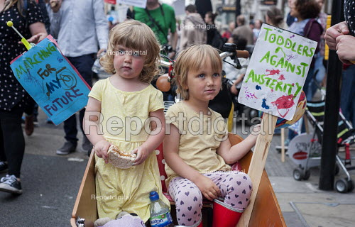 Toddlers against Austerity. End Austerity Now, national demonstration organised by the Peoples Assembly, London. - Philip Wolmuth - 2015-06-20