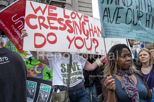 Residents of Cressingham Gardens Estate in Brixton, London, demonstrate outside Lambeth Town Hall over council plans to demolish their homes and build new housing which they believe will be unaffordable for existing tenants. - Philip Wolmuth - 2015-07-13