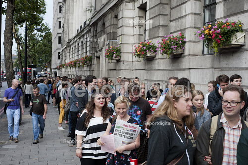 Queueing round the block. Grassroots for Jeremy. 1500 people attend a rally in support of Jeremy Corbyn for Labour Leader. Camden Centre, London. - Philip Wolmuth - 2015-08-03
