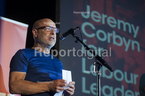 Musician Brian Eno. Grassroots for Jeremy. 1500 people attend a rally in support of Jeremy Corbyn for Labour Leader. Camden Centre, London. - Philip Wolmuth - 2015-08-03
