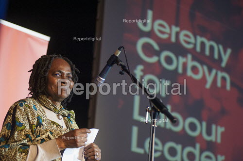 Anti-racist campaigner Martha Osamar. Grassroots for Jeremy. 1500 people attend a rally in support of Jeremy Corbyn for Labour Leader. Camden Centre, London. - Philip Wolmuth - 2015-08-03
