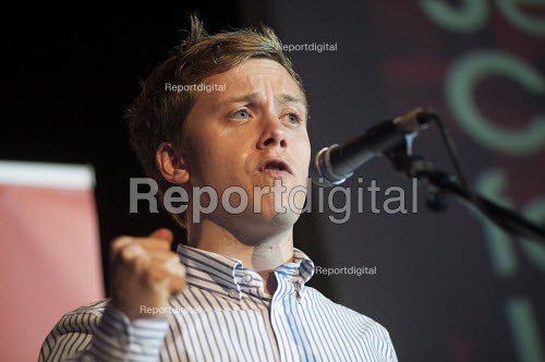 Journalist Owen Jones. Grassroots for Jeremy. 1500 people attend a rally in support of Jeremy Corbyn for Labour Leader. Camden Centre, London. - Philip Wolmuth - 2015-08-03