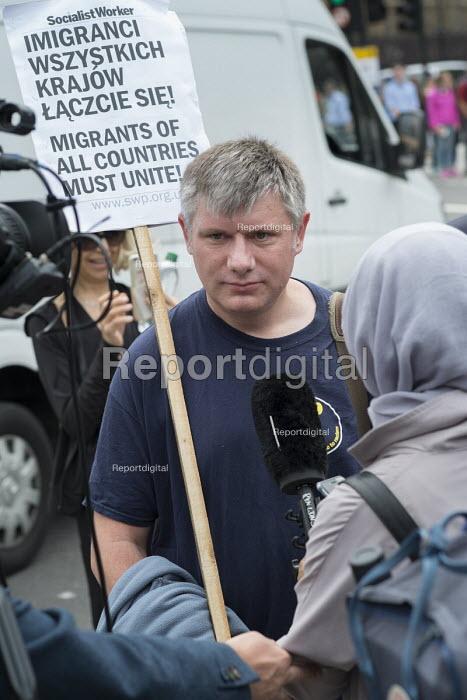 Poles protest anti migrant racism Parliament Square London - Philip Wolmuth - 2015-08-20