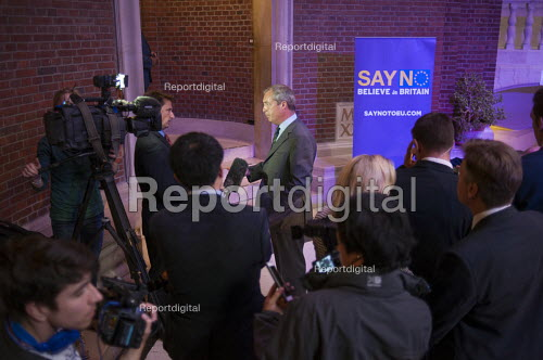 Nigel Farage being interviewed launching UKIP Say No To The EU Tour Westminster London Campaigning for a no vote in referendum on EU membership - Philip Wolmuth - 2015-09-04