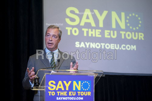 Nigel Farage launching UKIP Say No To The EU Tour Westminster London. Campaigning for a no vote in referendum on EU membership - Philip Wolmuth - 2015-09-04