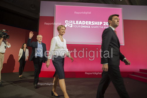 Candidates at Labour Party leadership election result Westminster London - Philip Wolmuth - 2015-09-12