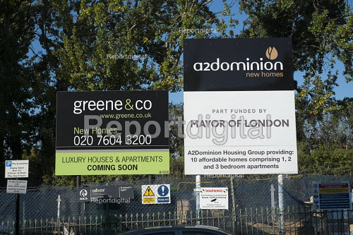 A2Dominion Housing Group & Mayor of London affordable housing scheme signs, Camden - Philip Wolmuth - 2015-10-26