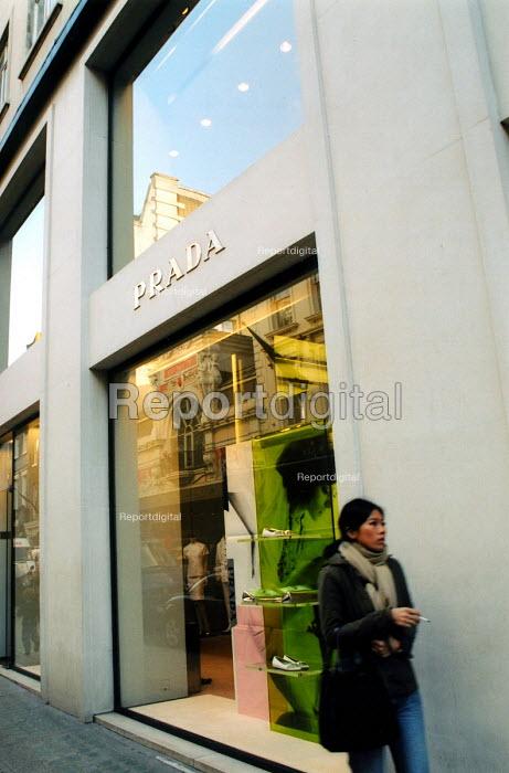 Prada, designer clothing shop on Bond Street in London West End - Joanne O'Brien - 2003-02-03