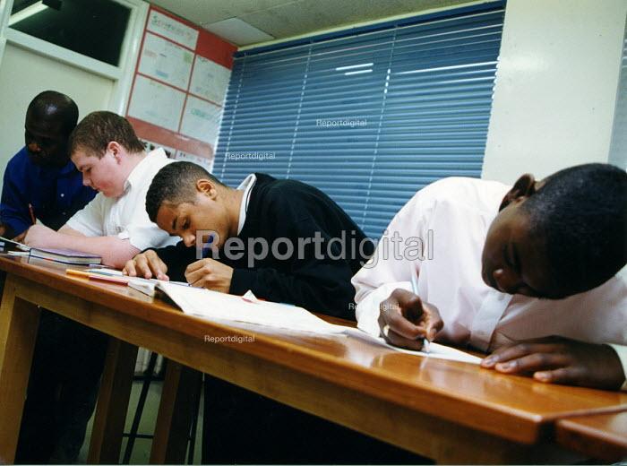 Pupils writing, secondary school Haringay London - Joanne O'Brien - 20021024