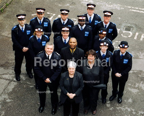 Some of the 11 new Police Community Support Officers starting work at Muswell Hill Police Station. - Joanne O'Brien - 2003-05-02
