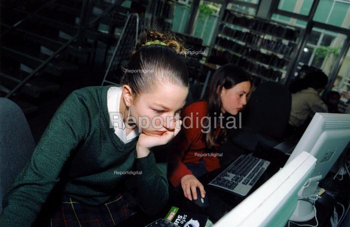Schoolgirl in local library - Joanne O'Brien - 2003-05-04