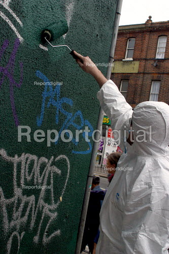 New anti-grafitti initiative is launched by Haringey Council, the High Road Tottenham, LondonA cleanup kit is available for use by Tenants Associations and community groups. - Joanne O'Brien - 2002-07-26