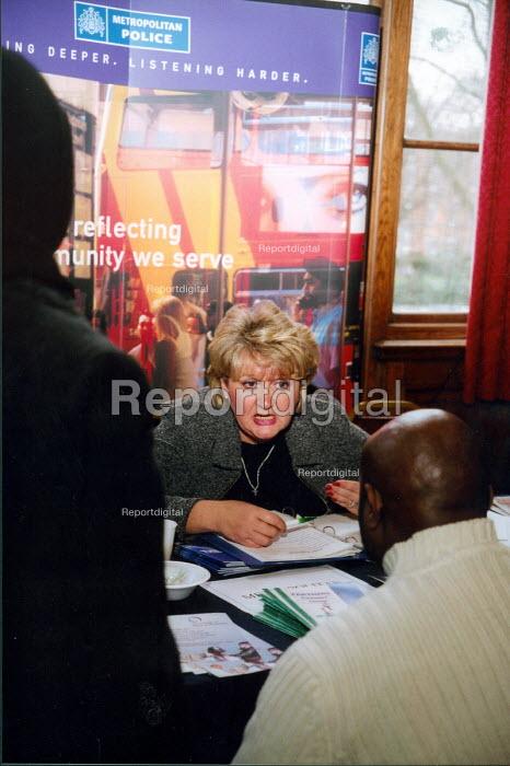 Giving advice at job fair in London - Joanne O'Brien - 20021024