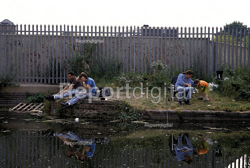 Anglers Fishing on the Regents Canal, Hackney East London. 1992, ... - Paul Mattsson - 1992-07-27