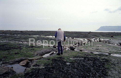 Man with Walking Stick walks across to the Sea at Low Tide, Robin Hoods Bay, North Yorkshire Coast. - Paul Mattsson - 1992-12-28