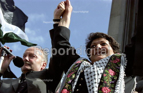 Labour MP and Leila Khaled famous Palestinian guerilla fighter from the 1960's and 70's at Palestine solidarity rally - Paul Mattsson - 2002-05-18