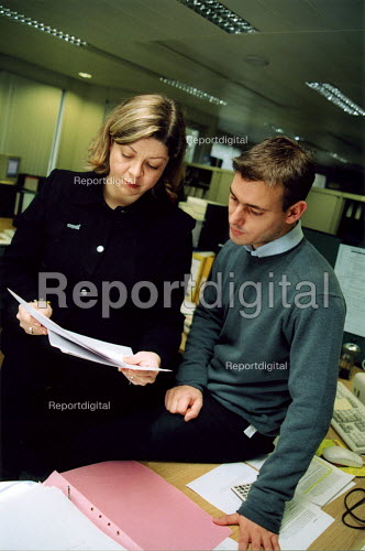 National organiser for Prospect, and branch sec. preparing for a branch meeting on pay agreement - Joanne O'Brien - 2002-09-24