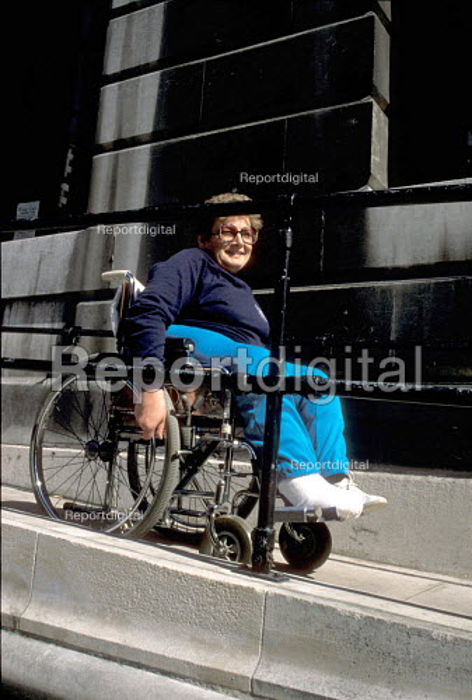 Woman using wheelchair access to Town Hall London - Joanne O'Brien - 20021024