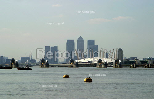 The Millennium Dome, Canary Wharf and Thames Barrier, London - Joanne O'Brien - 2004-04-24