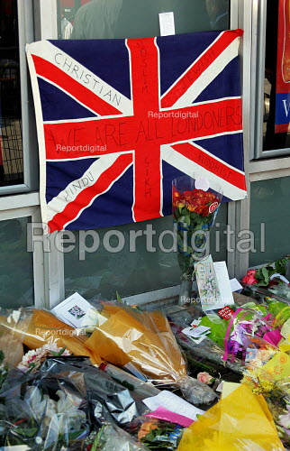 Kings Cross Station, central London. Flowers for those who died in the bombings. - Joanne O'Brien - 2005-07-09