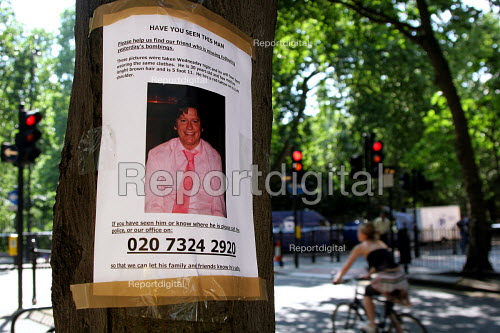 Russell Square, central London. Near the scene of the 7.July 2005 Russell Square Tube bombing a poster of a man missing since the bombing. - Joanne O'Brien - 2005-07-09