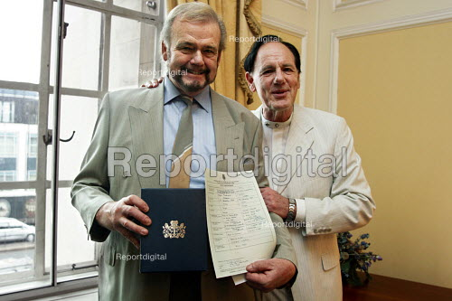 Civil partnership ceremony at Marylebone Town Hall on first day that it was possible to have one. Bryce & Lyndon have been together 27 years and were very happy to to able to avail themselves of the new law. - Joanne O'Brien - 20051221