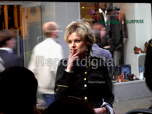 Young woman smoking in Oxford Street, Central London - Joanne O'Brien - 2006-04-26