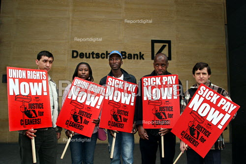 Cleaners seeking trade union recognition from Deutsche Bank protest outside the Banks London HQ. Deutshe Bank have recently announced record profits. - Joanne O'Brien - 2006-05-08