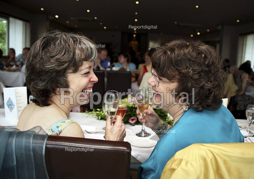 Civil Partnership, a lesbian couple celebrating at the reception after their ceremony, London - Joanne O'Brien - 2007-09-15