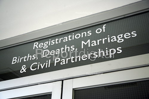 Registrars office, Births, Deaths, Marriages with new sign which adds civil partnerships to the usual list, Haringey Civic centre, London - Joanne O'Brien - 2006-09-16