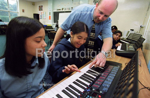Teacher with secondary pupils in music lesson at Queensbridge, Birminghams first specialist school in the performing arts - Roy Peters - 2000-09-10