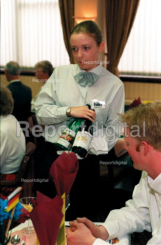 Student in Licensing and Retailing degree practising wine waiting - Roy Peters - 1997-05-13