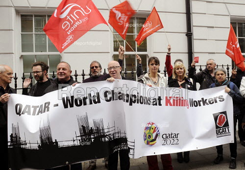 Campaigners at the Qatari embassy in London as part of Workers Memorial Day protest against loss of lives in the construction industry building the stadiums for the 2022 Football World Cup to be held in Qatar. - Stefano Cagnoni - 2014-04-28