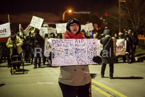 Dearborn, Michigan, Civil rights activists protest the killing of an unarmed mentally-ill African-American man Kevin Matthews by a Dearborn police officer. The policeman pursued Matthews into a nearby Detroit neighborhood and shot him, apparently after a struggle. - Jim West - 2016-01-04