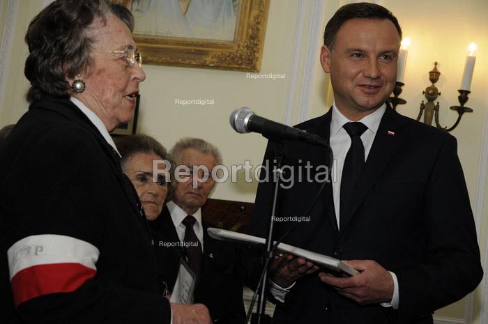 Polish President Andrzej Duda honours participants of the Warsaw Uprising at the Polish Institute aand Sikorski Museum, (PISM) London. - Janina Struk - 2015-09-15